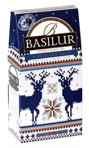 Herbata Basilur Knitted Collection Folk Indigo 90g - czarna liściasta z kiwi